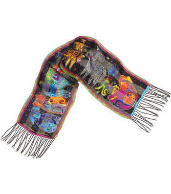 Laurel Burch Scarves-Dogs & Doggies with Fringe