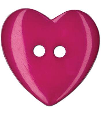 "Blumenthal Lansing-Slimline Buttons-Fuchsia Heart 2-Hole 1"" 2/Card"