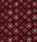 Christmas Cotton Fabric 43\u0022-Star Snowflake Plaid