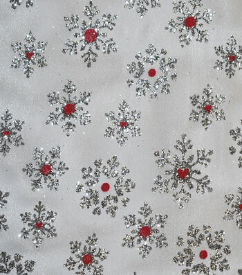 """Sew Sweet Foil Organza Fabric 58""""-Snowflake Red & Silver"""