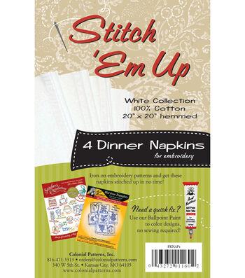 Stitch 'em Up Dinner Napkins For Embroidery 4/Pkg- White