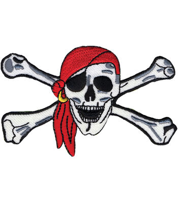 """Wrights Iron-On Appliques-Pirate Skull&Crossbones 1-3/4""""x1-1/2"""""""