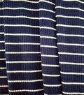 Apparel Knit Fabric-Tiny Ribbed Knit Navy/White Stripe