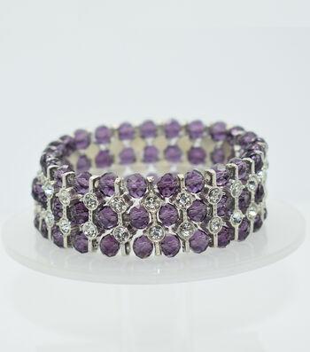 Glass Beads Spacer Bracelet-Purple