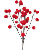 Blooming Holiday Christmas 22'' Pompom Spray-Red, , hi-res