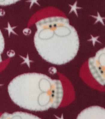 """3 Yard Pre-Cut Anti-Pill Fleece Fabric 59""""-Santa Faces"""