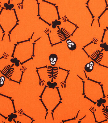 "Holiday Showcase™ Halloween Cotton Fabric 43""-Tossed Skeleton"