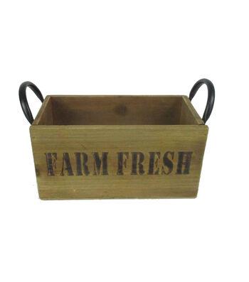 Farm Storage Small Wood Box with Metal Handle-Farm Fresh