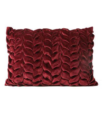 Fall Into Color Velvet Weave Pillow-Burgundy
