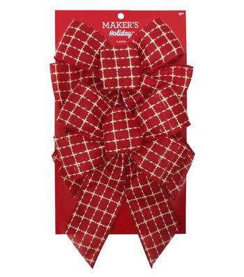 Maker's Holiday Christmas 2 pk 7.5''x10'' Fashion Bows-Red & White Plaid