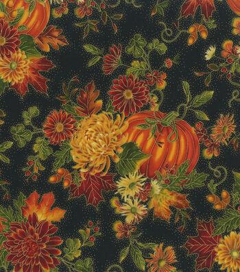 "Harvest Cotton Fabric 44""-Floral Pumpkins Metallic"