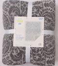 No-Sew Throw Fleece Fabric 72\u0022-Charcoal Damask