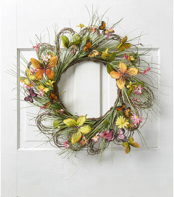Fresh Picked Spring 22'' Butterfly, Floral & Twig Wreath