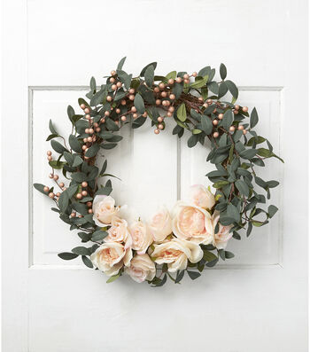 Fresh Picked Spring 22'' Rose & Berry Wreath-Peach