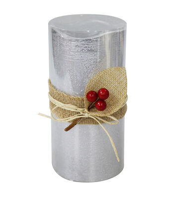 Maker's Holiday Christmas 3''x6'' LED Candle with Berries-Silver