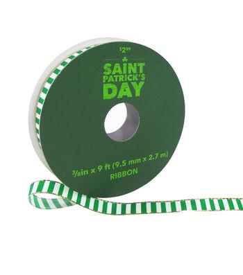 St. Patrick's Day Ribbon 3/8''x9'-Green & White Stripes