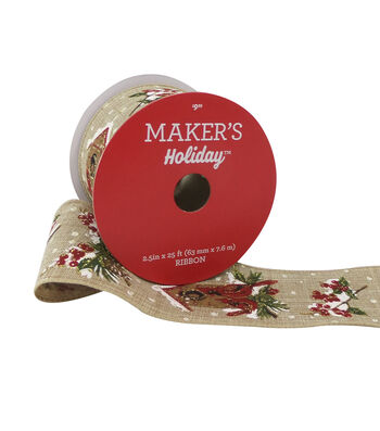 Maker's Holiday Christmas Linen Ribbon 2.5''x25'-Cardinals on Beige