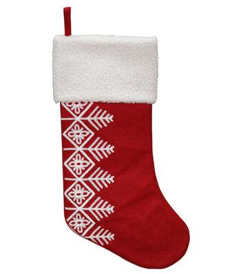 Maker's Holiday Christmas 20'' Burlap Stocking-Red & White