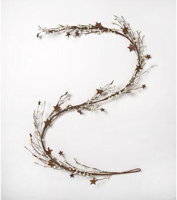 Blooming Autumn 66'' Berry & Metal Star Garland-White