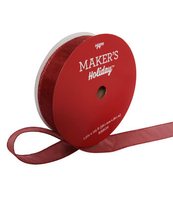 Maker's Holiday Christmas Value Ribbon 1.5''x125'-Red