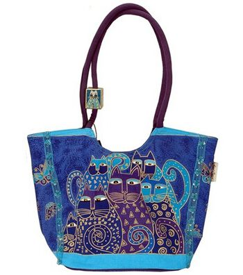 Laurel Burch Scoop Tote with Zipper Top-Indigo Cats