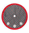 Maker\u0027s Holiday Tree Skirt-Plaid & Snowflake