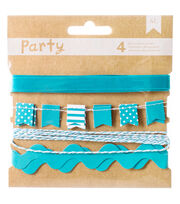 DIY Party Decorative Trims 4/Pkg-Blue & White, , hi-res
