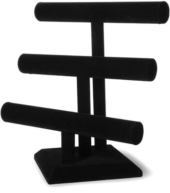 Darice Velvet Triple Bar Jewelry Stand Black