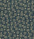 Vintage Cotton Fabric 43\u0022-Floral Outline Tan