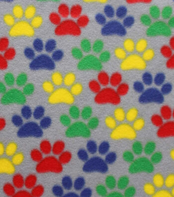 "Blizzard Fleece Fabric 59""-Bright Paw Prints"