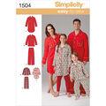 Simplicity Pattern 1504A Adult & Children\u0027s Sleepwear-Size XS-L/XS-XL