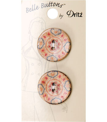 Dritz Belle Button Natural Coconut Printed 25mm