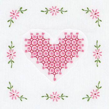 Jack Dempsey Stamped Quilt Blocks Chicken Scratch Hearts 9''x9''