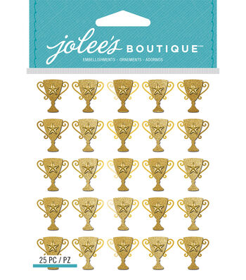 Jolee's Boutique Dimensional Stickers-Gold Glitter Trophy