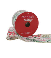 Maker's Holiday Christmas Ribbon 2.5''x25'-Sentiments on Beige, , hi-res
