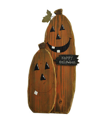 Maker's Halloween Wood Pumpkin Group Porch Sitter Sign-Happy Halloween