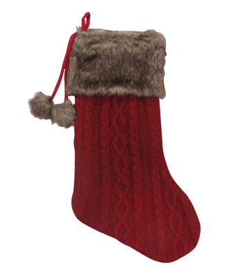 Maker's Holiday Christmas Knit & Fur Stocking with Pom Pom-Red & Brown