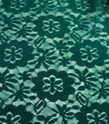 """Sew Sweet Flocked Floral Lace Fabric 58""""-Evergreen"""
