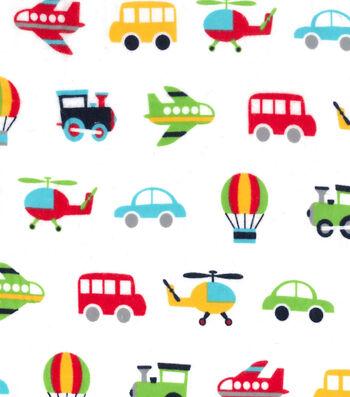 Nursery Flannel Fabric 42''-Transport Vehicles