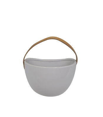 Hello Spring Ceramic Hanging Planter-White
