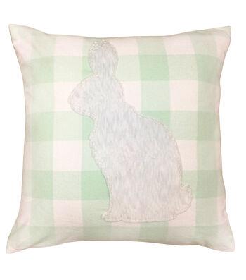 Easter 18''x18'' Pillow-Buffalo Check & Bunny Applique