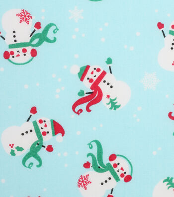 Holiday Showcase™ Christmas Cotton Fabric 43''-Tossed Snowmen on Blue