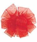 Wired Edge Cosmic Glitz Craft Ribbon, Red, 1-1/2\u0022 x 9 Ft