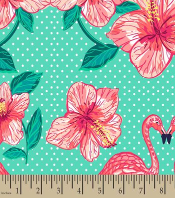 Flamingo Flowers Print Fabric