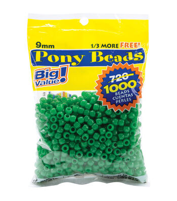 Pony Bead Big Value Pack 9mm 1000/Pkg-Opaque Green
