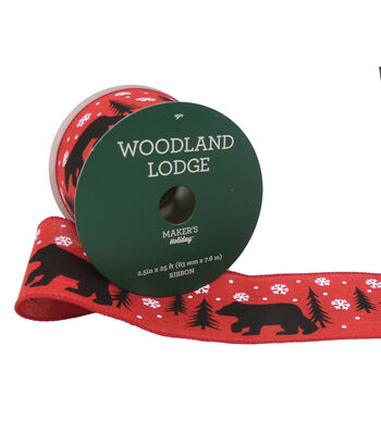 Maker's Holiday Woodland Lodge Ribbon 2.5''x25'-Black Bear on Red