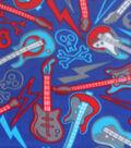 Blizzard Fleece Fabric-Guitars And Skulls