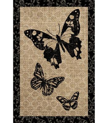 Porch Décor Fabric Flag 12''x18''-Butterflies