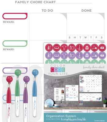 The Board Dudes™ Color Code Your Life Dry Erase Family Chore Chart