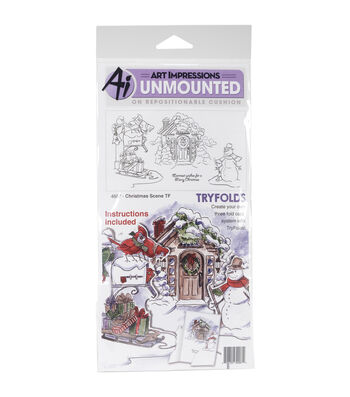 Art Impressions Tryfolds Unmounted Cling Rubber Stamps-Christmas Scene